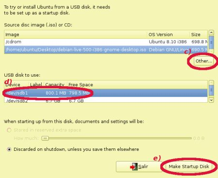 Captura de pantalla de Make Startup Disk
