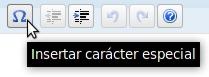 La herramienta con forma de herradura de WordPress es para insertar caracteres especiales
