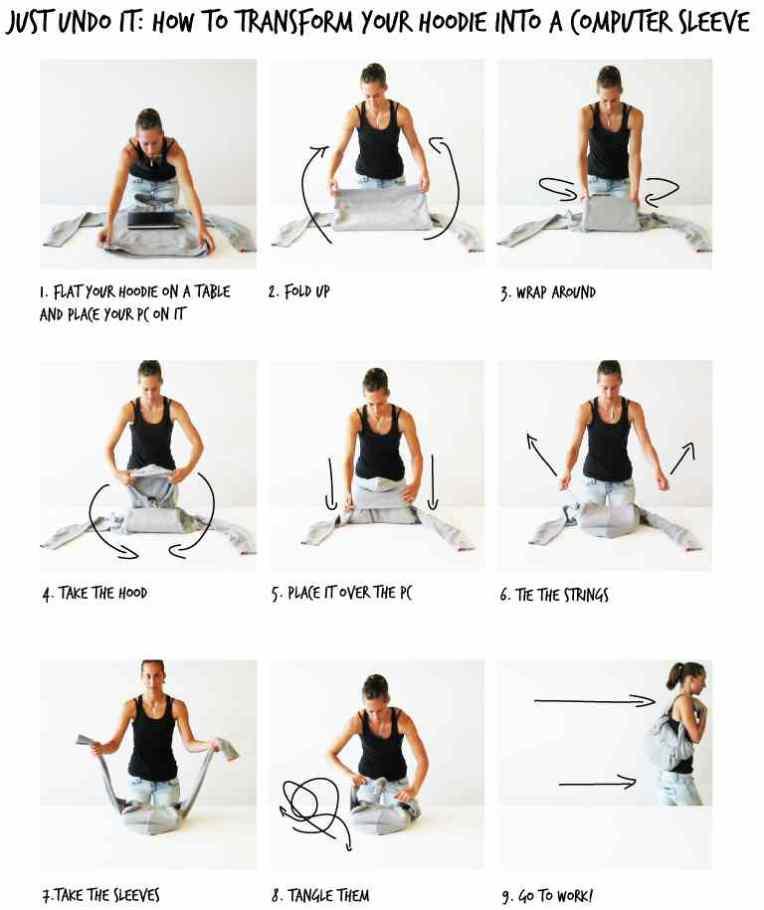 Cómo hacer de tu sudadera o camisa una bolsa para la laptop